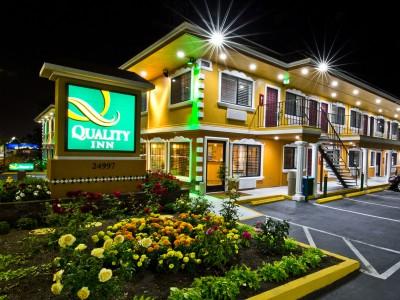 Quality Inn Hotel Hayward - Signage and Flower Garden at Night